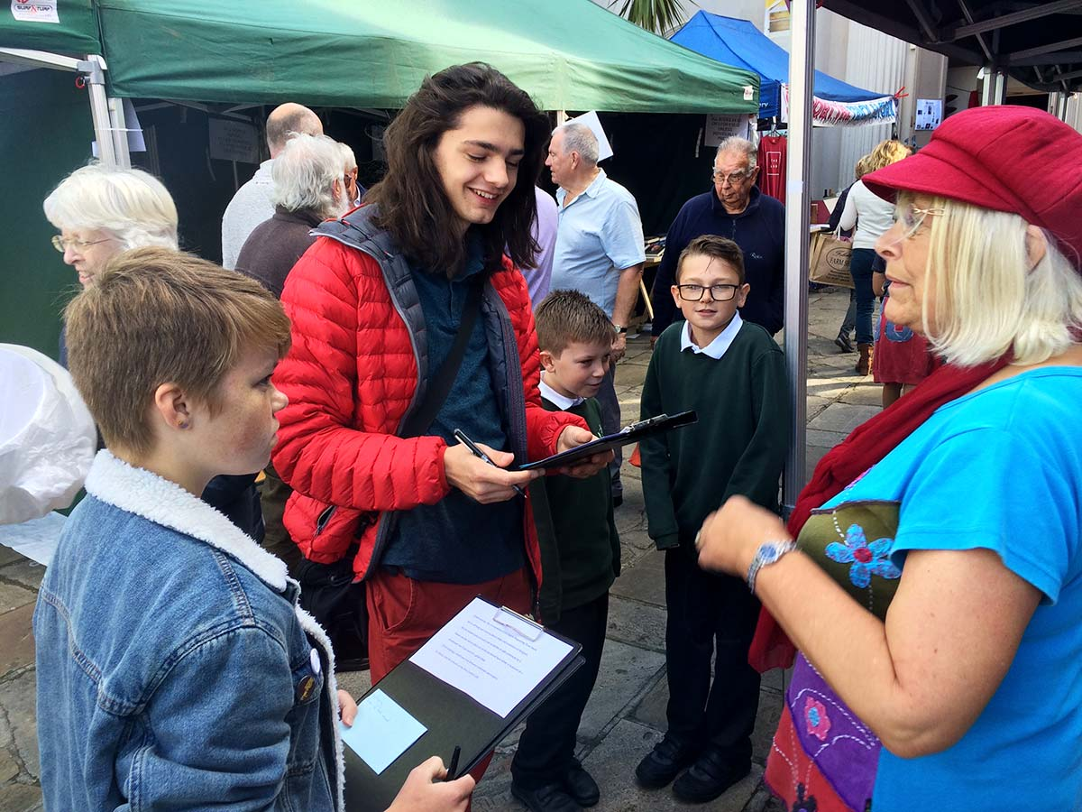 Interviewing Members Of The Public At Bridport Charter Fair 2019